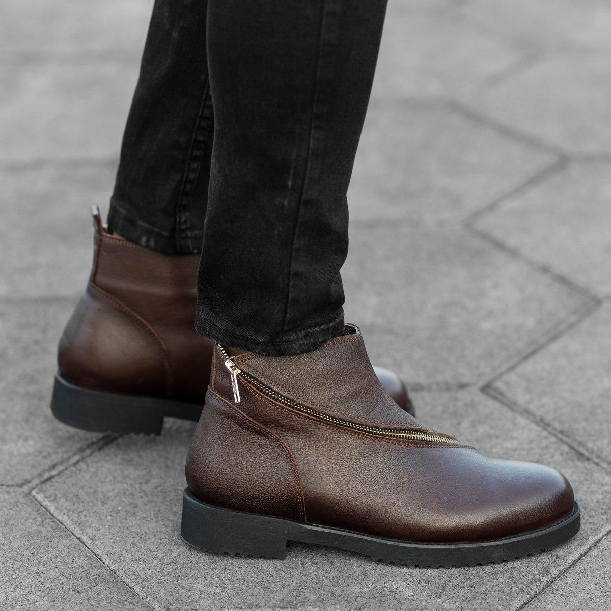 Cross-Zip Leather Chelsea Boots in Brown Mv Premium Brand - 1