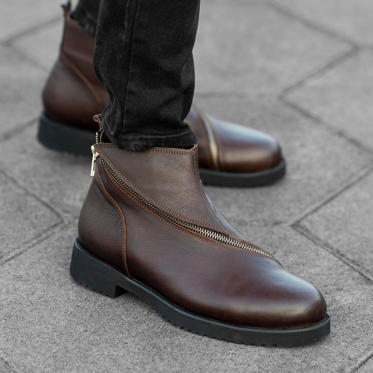 Cross-Zip Leather Chelsea...