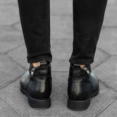 Cross-Zip Leather Chelsea Boots in Black Mv Premium Brand - 4