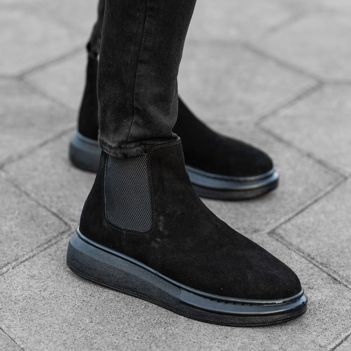 Genuine-Suede Hype Sole Chelsea Boots In Black Mv Premium Brand - 1
