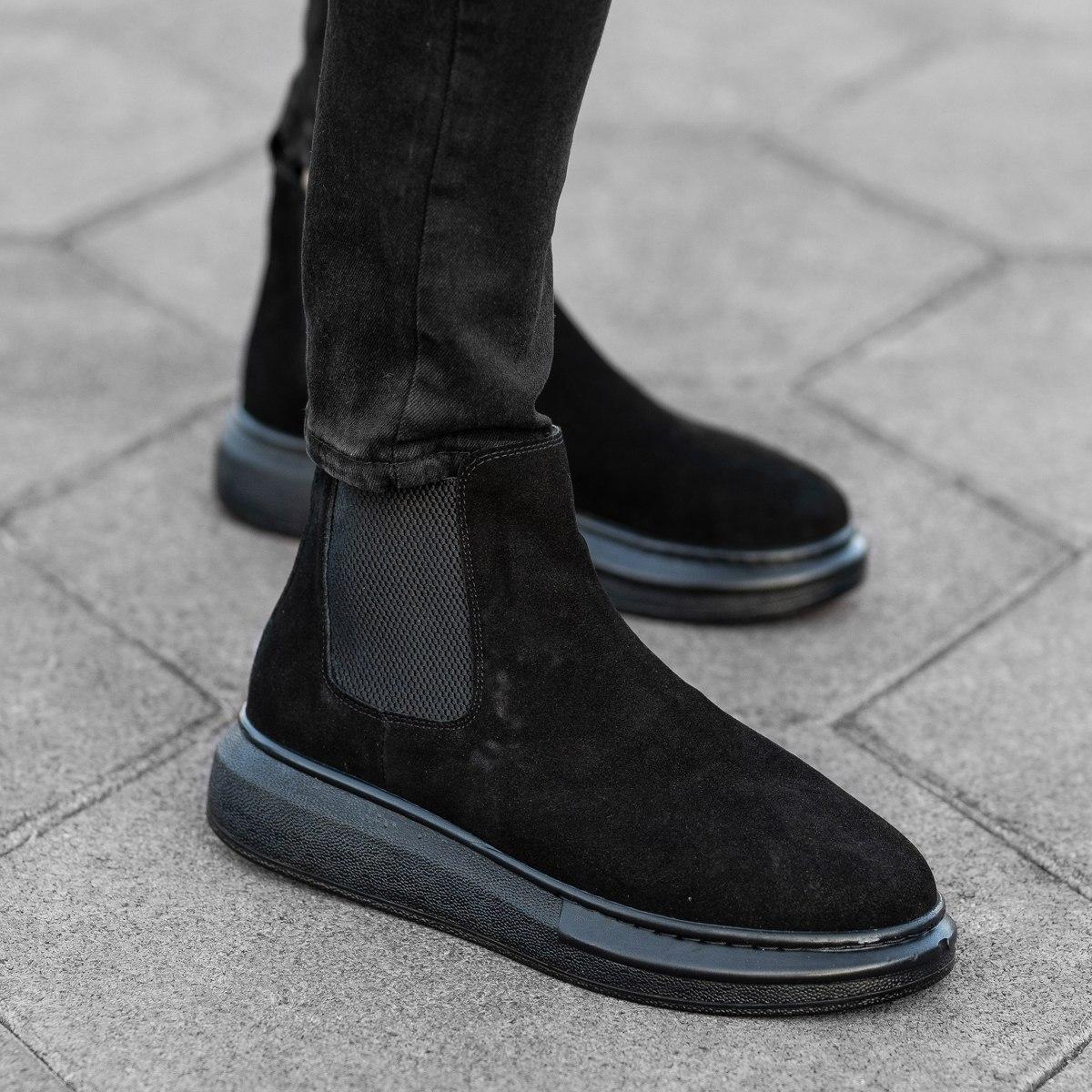 Genuine-Suede Hype Sole Chelsea Boots In Black Mv Premium Brand - 1