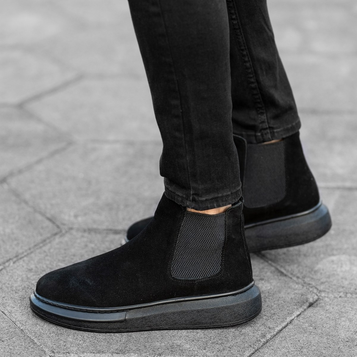 Genuine-Suede Hype Sole Chelsea Boots In Black Mv Premium Brand - 2