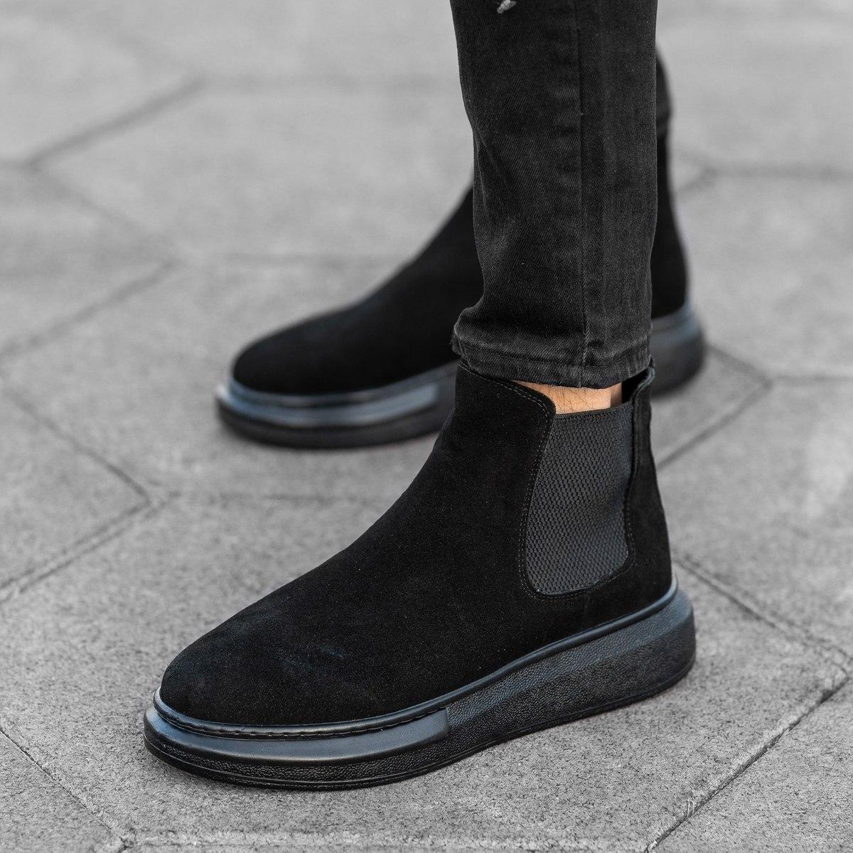 Genuine-Suede Hype Sole Chelsea Boots In Black Mv Premium Brand - 3