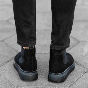 Genuine-Suede Hype Sole Chelsea Boots In Black Mv Premium Brand - 4