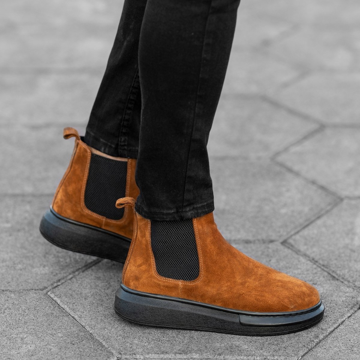 Genuine-Suede Hype Sole Chelsea Boots In Brown Mv Premium Brand - 2