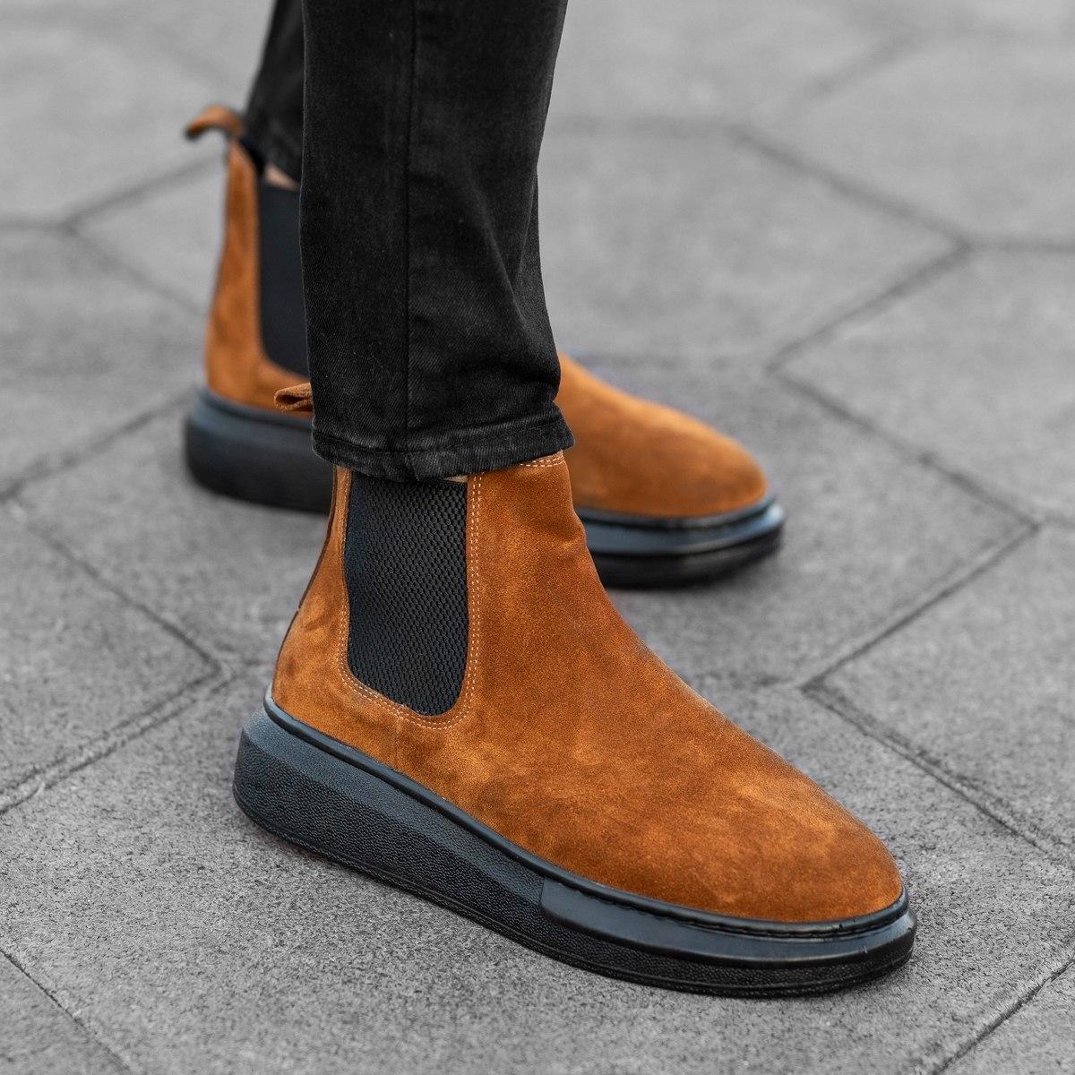 Herren Hype Sole Chelsea Boots Stiefel aus echtem Wildleder in braun Mv Premium Brand - 1