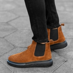 Genuine-Suede Hype Sole Chelsea Boots In Brown Mv Premium Brand - 3