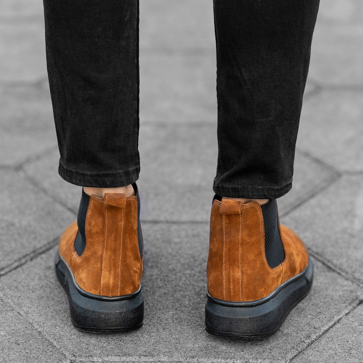 Genuine-Suede Hype Sole Chelsea Boots In Brown Mv Premium Brand - 4