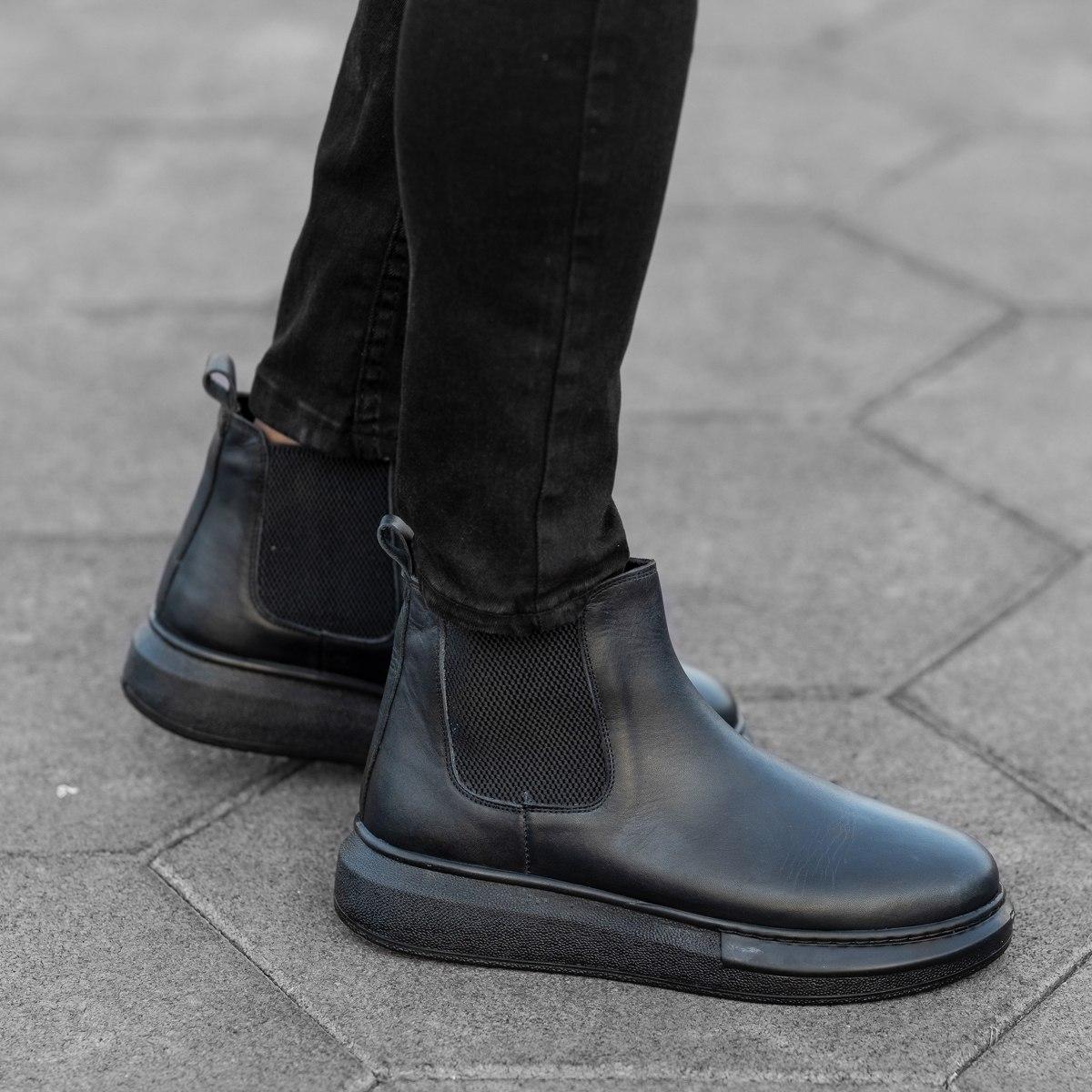 Herren Hype Sole Chelsea Boots Stiefel aus echtem Leder in schwarz Mv Premium Brand - 1