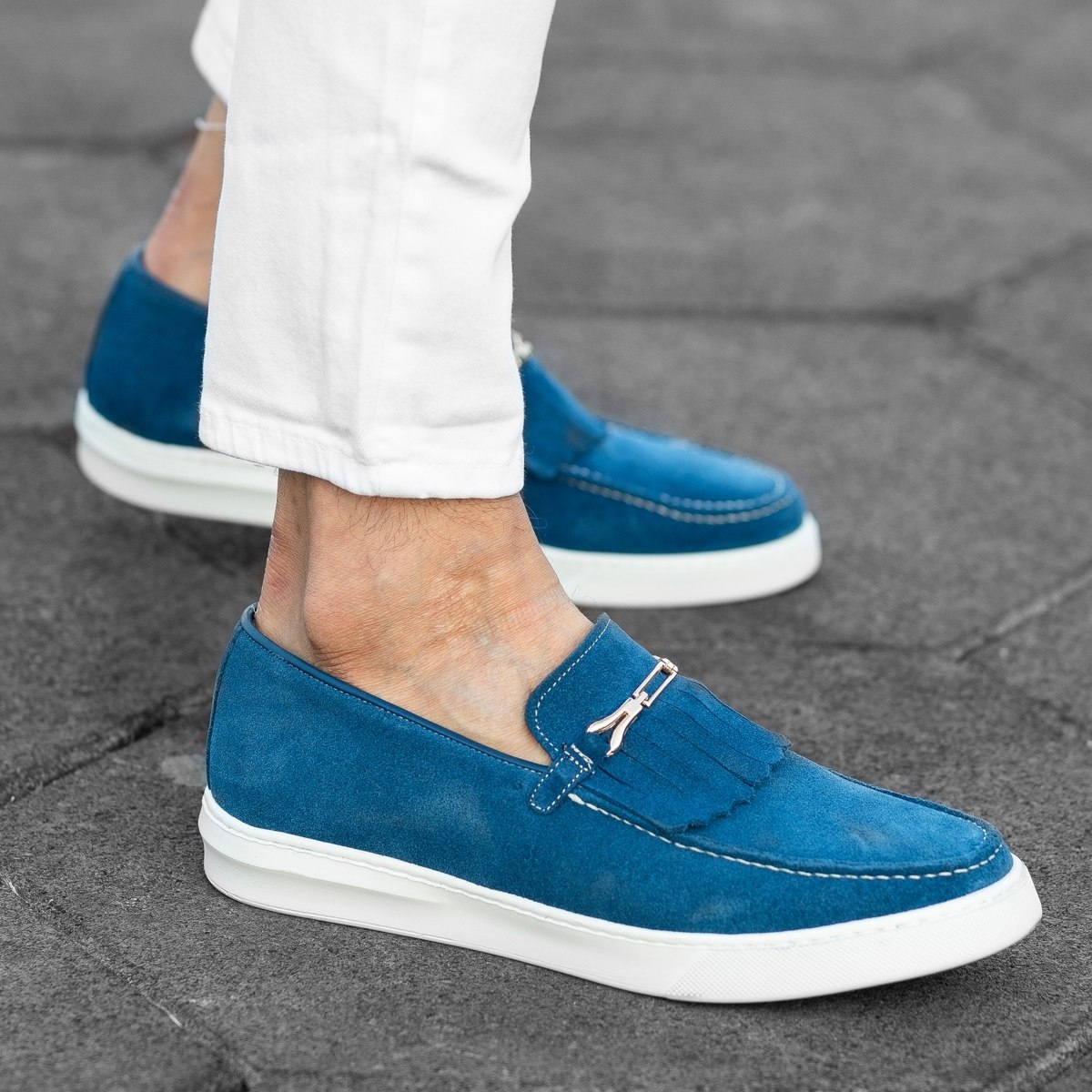 Loafers In Blue Mv Premium Brand - 1