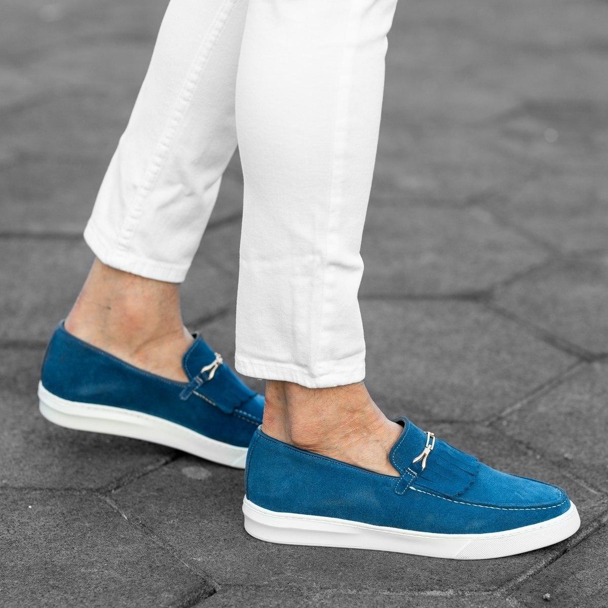 Loafers In Blue Mv Premium Brand - 3