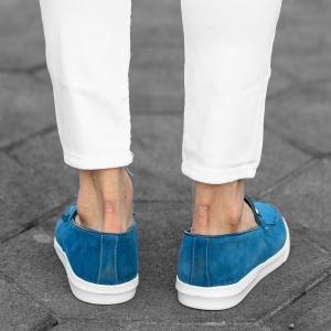 Loafers In Blue Mv Premium Brand - 4