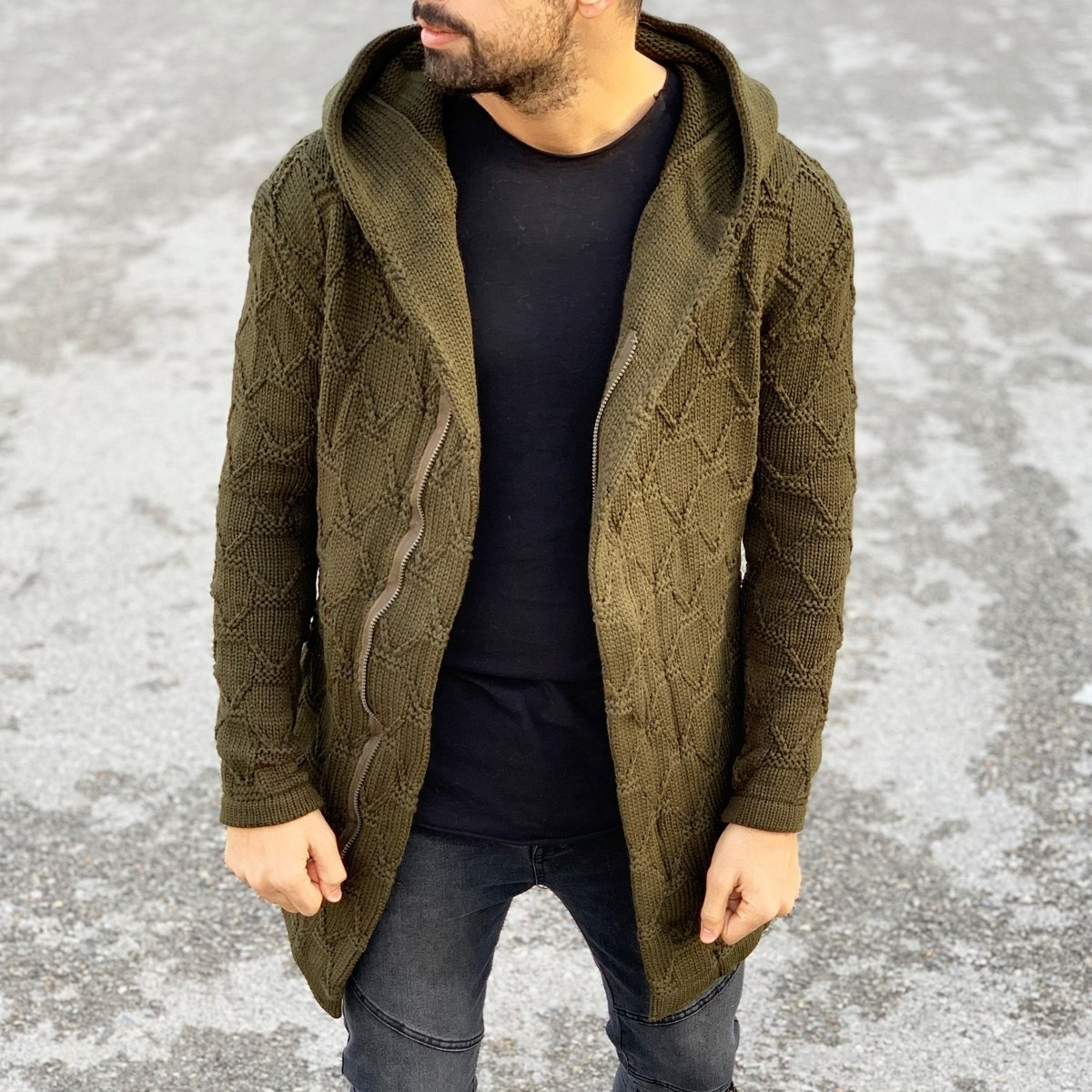 Quilted Pattern Cardigan in Khaki