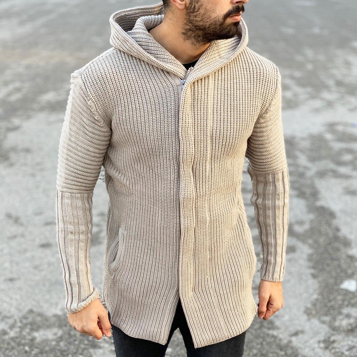 Classic Hooded Cardigan Jacket in Beige