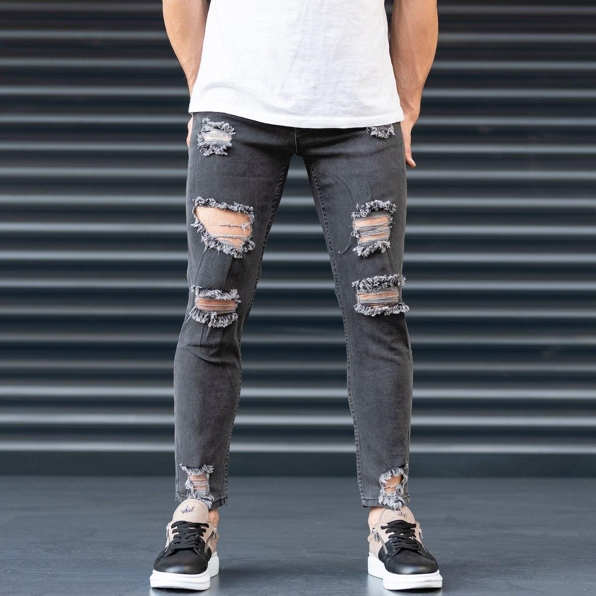 Men's Coal-Black Ripped Jeans