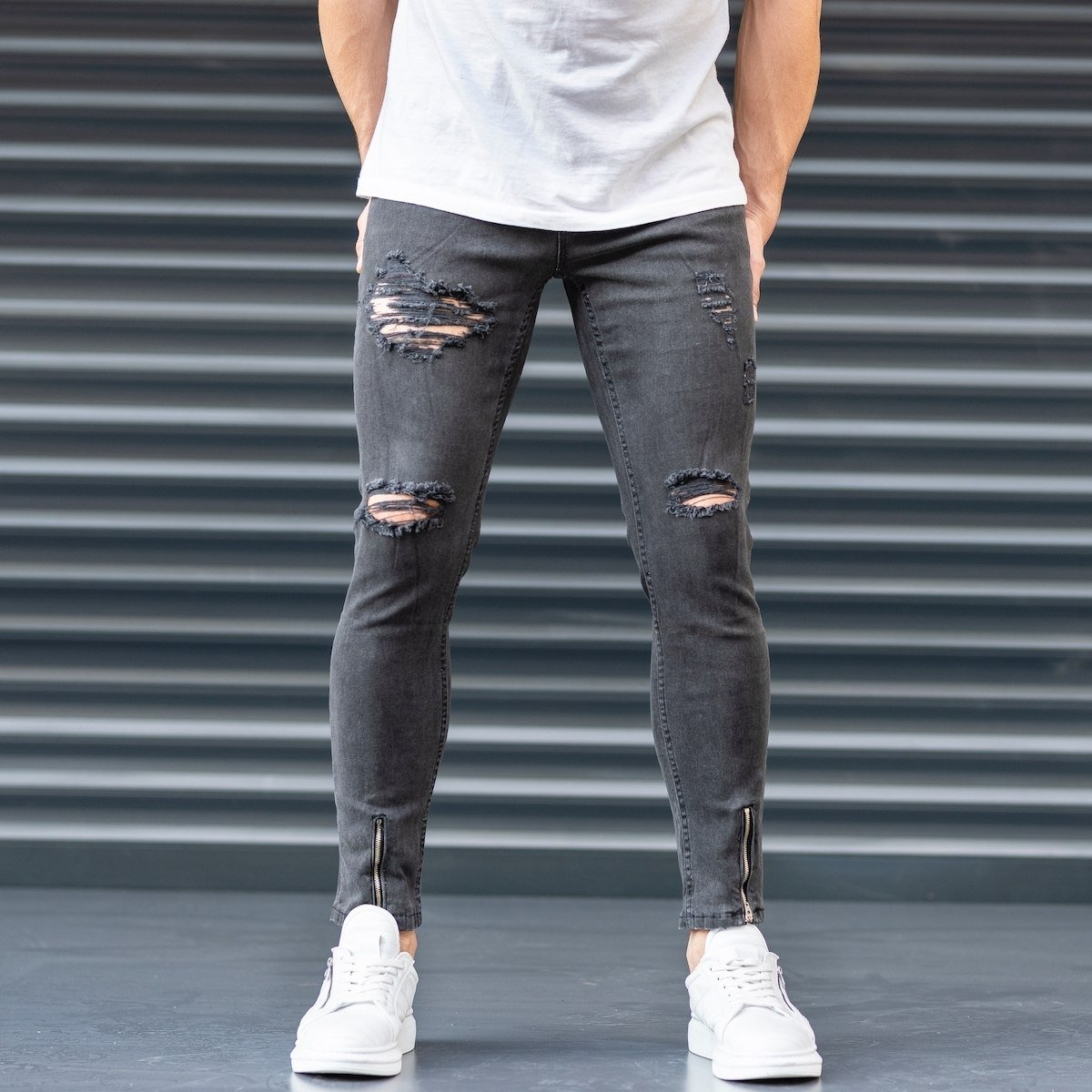 Men's  Jeans With Rips In Smoked Gray