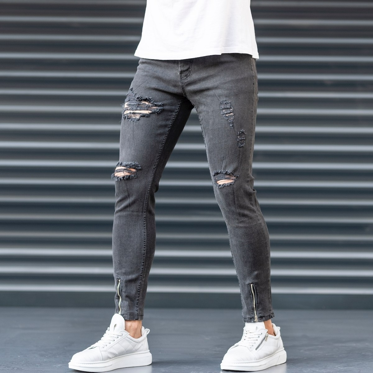 Men's  Jeans With Rips In...