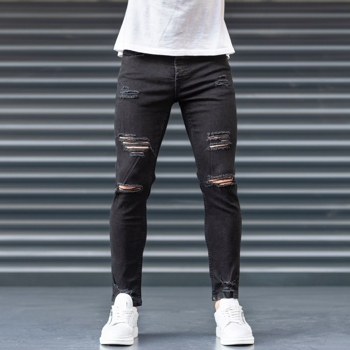 Men's Black Claw-Ripped Jeans
