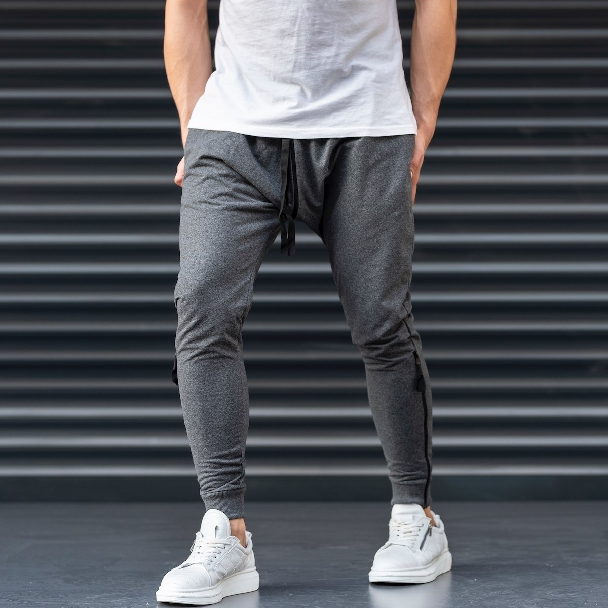 Gray Shalvar Trousers with Zip
