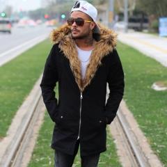 MV Parker-Style Jacket with Furry Trim in Black Mv Premium Brand - 2