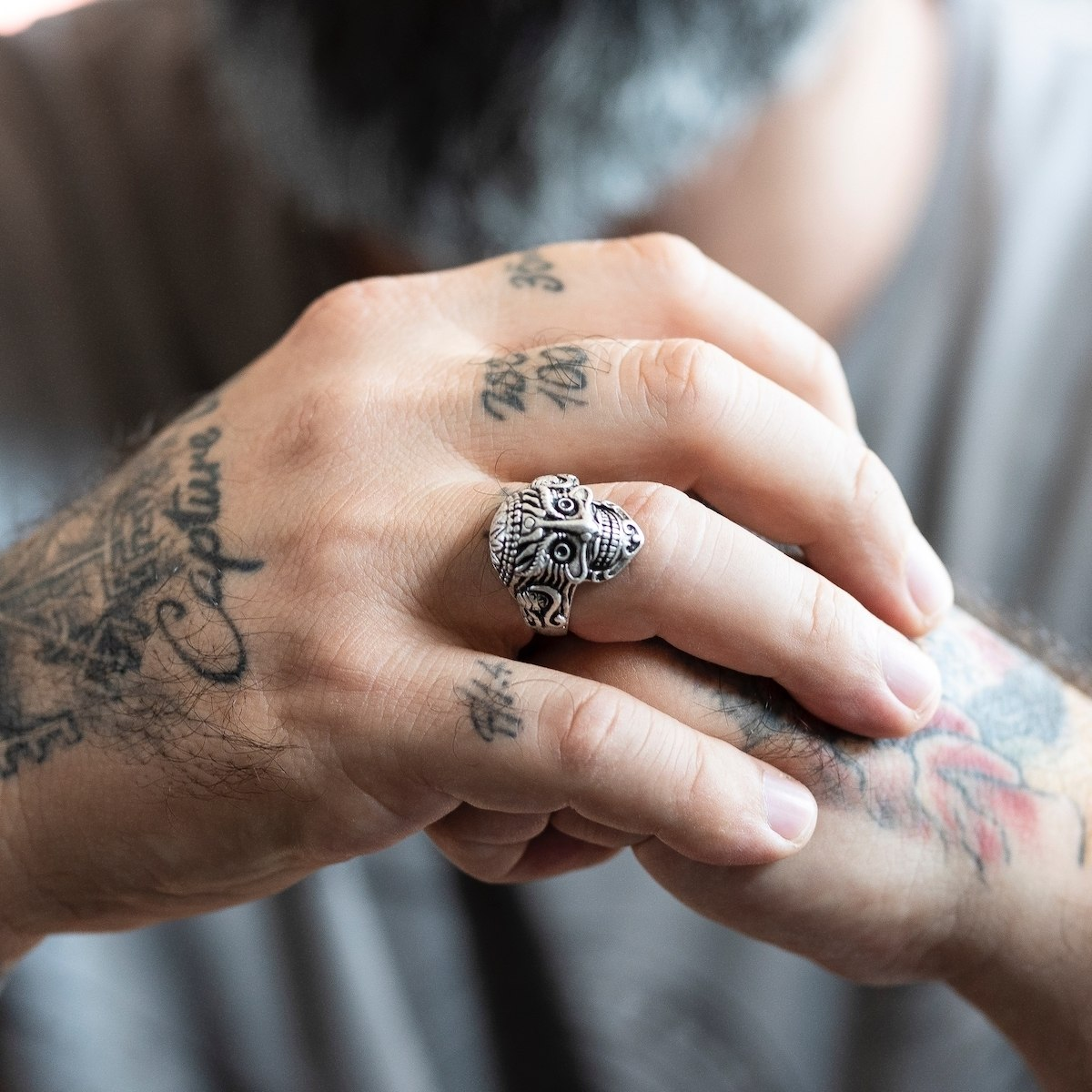 Men's Inca Skull Silver Ring