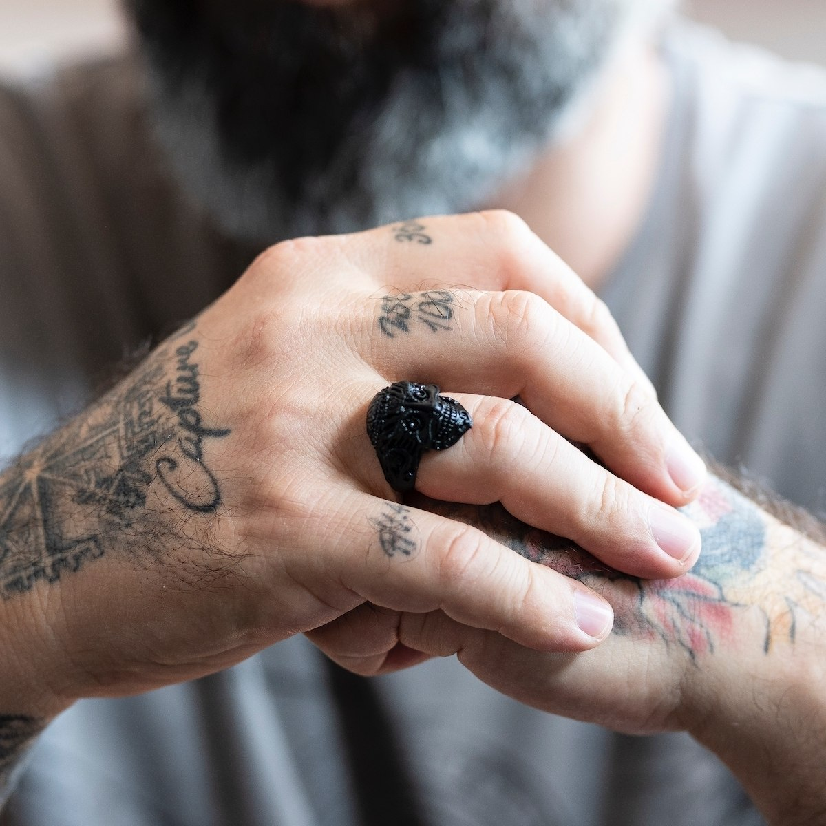 Men's Inca Skull Black Ring