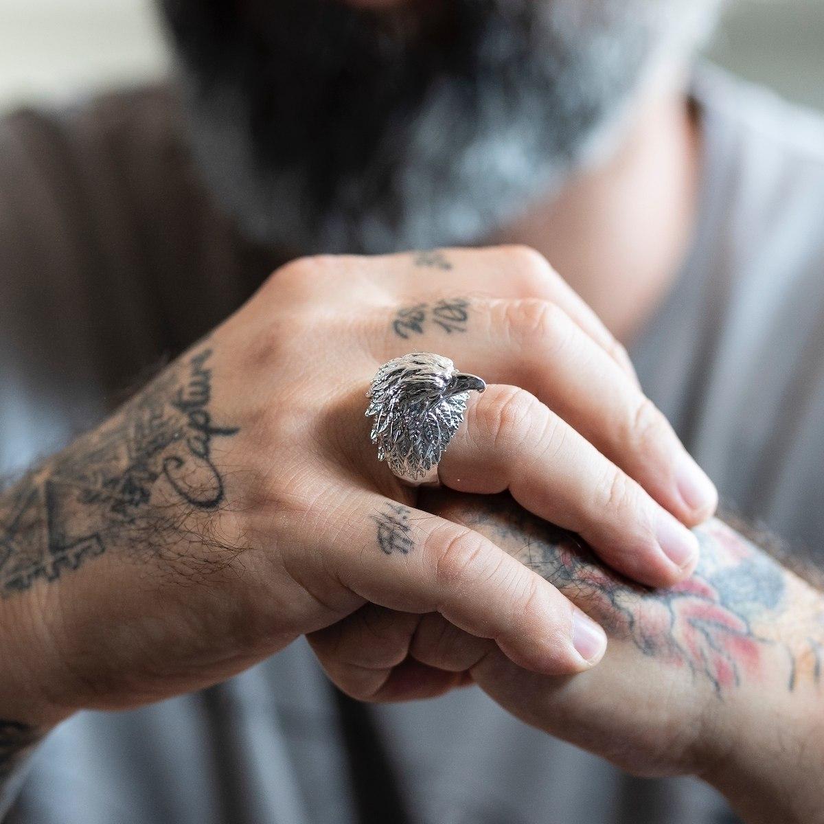 Men's Eagle Silver Ring