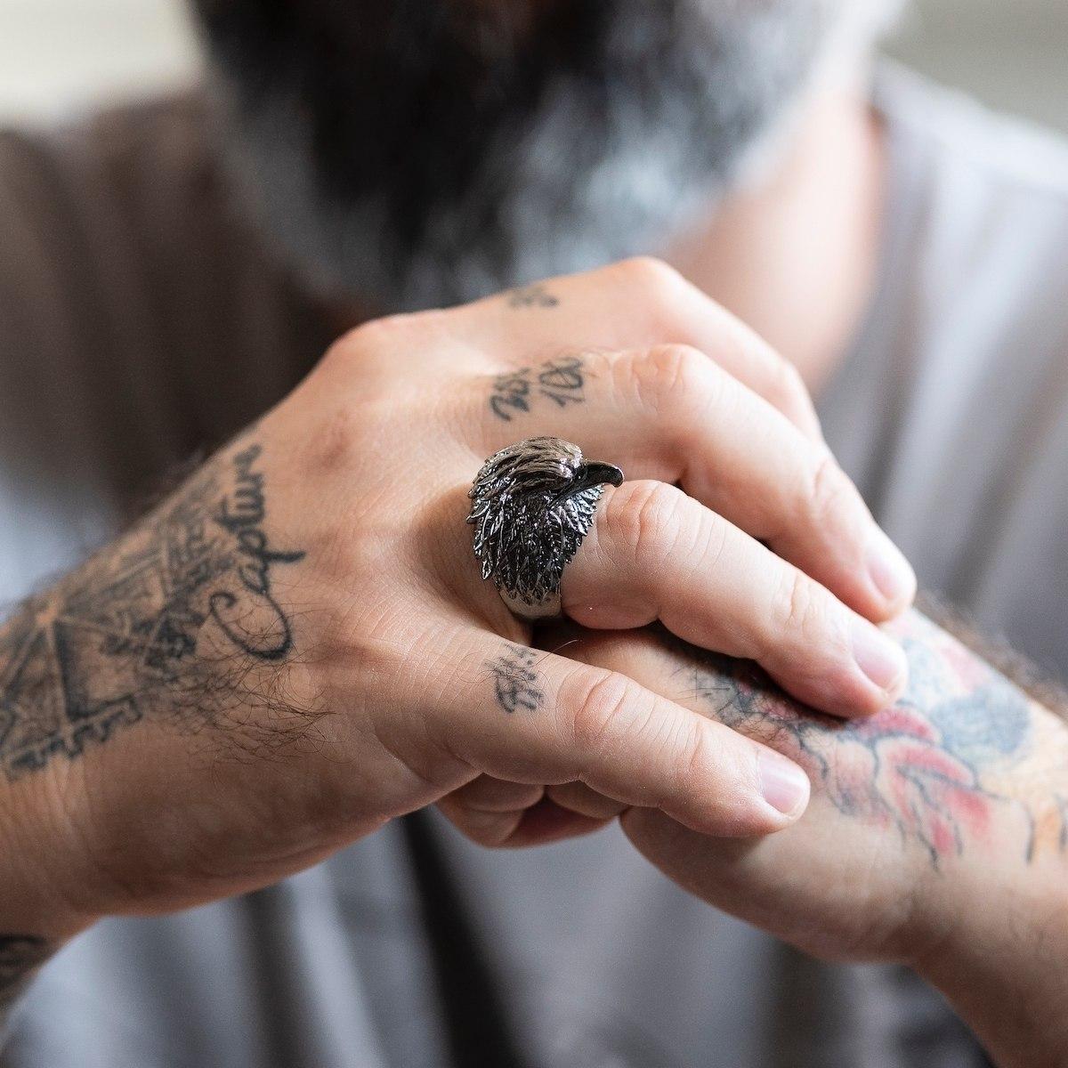 Men's Black Eagle Ring
