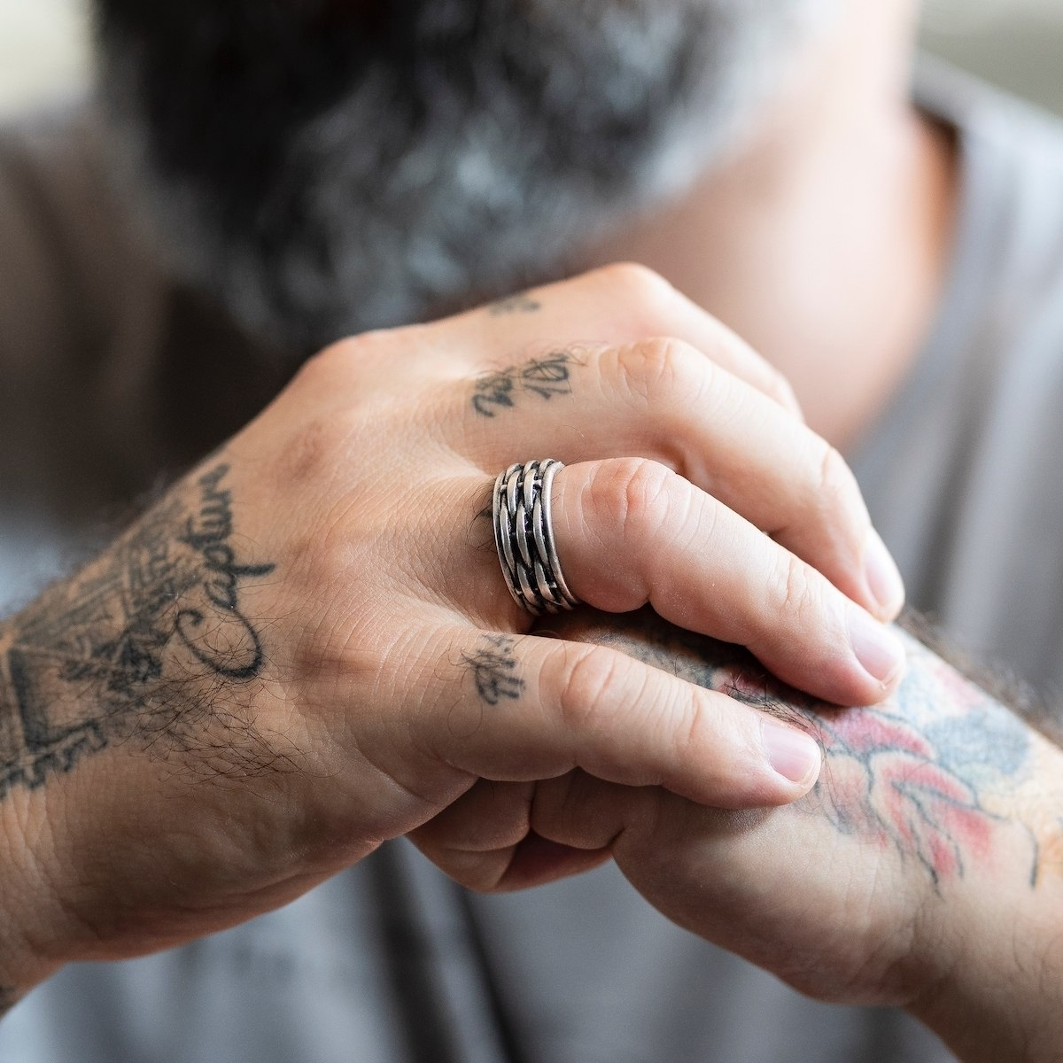 Men's Rugged Silver Ring