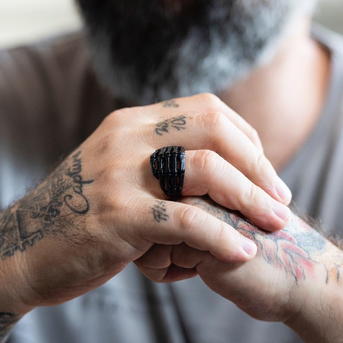 Men's Black Skeleton Ring