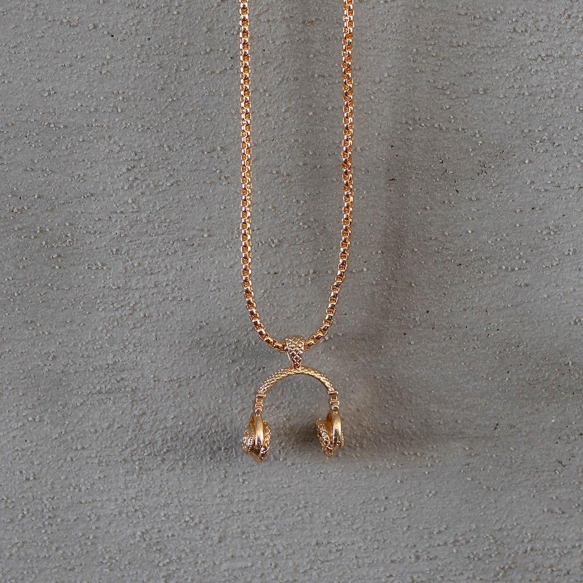 Men's Headphone Necklace Gold