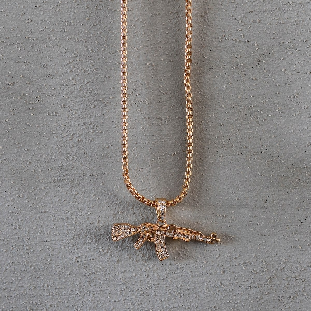 Men's AK-47 Necklace Gold
