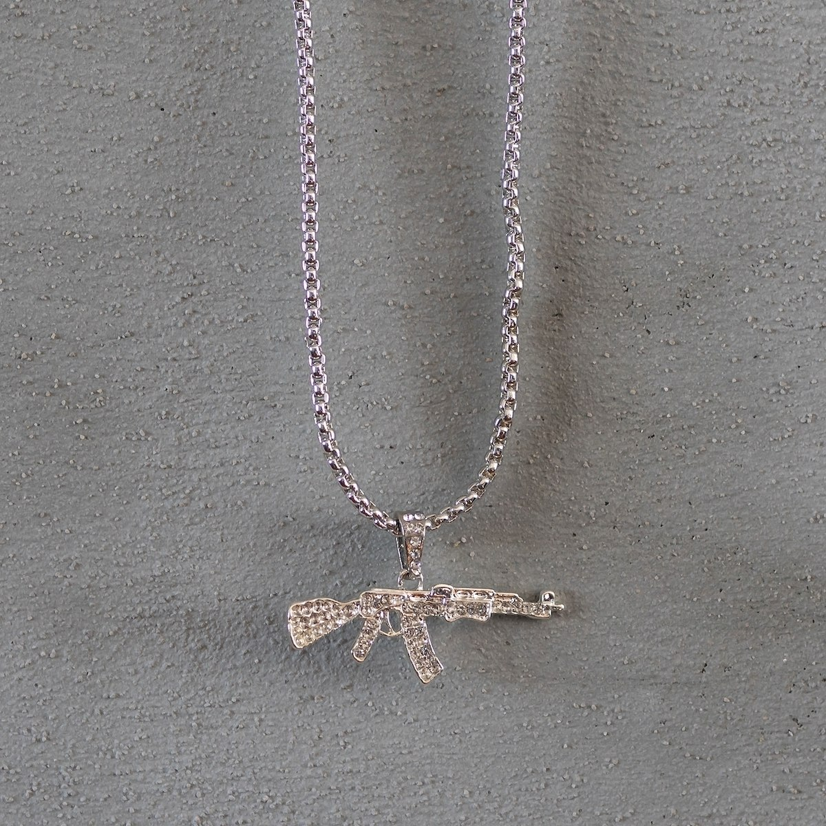 Men's AK-47 Necklace Silver