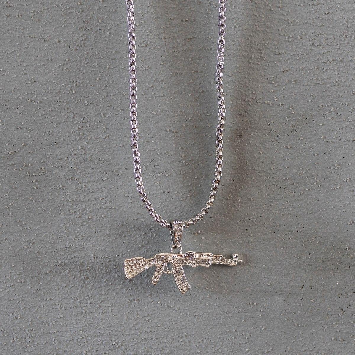 Men's AK-47 Necklace Silver