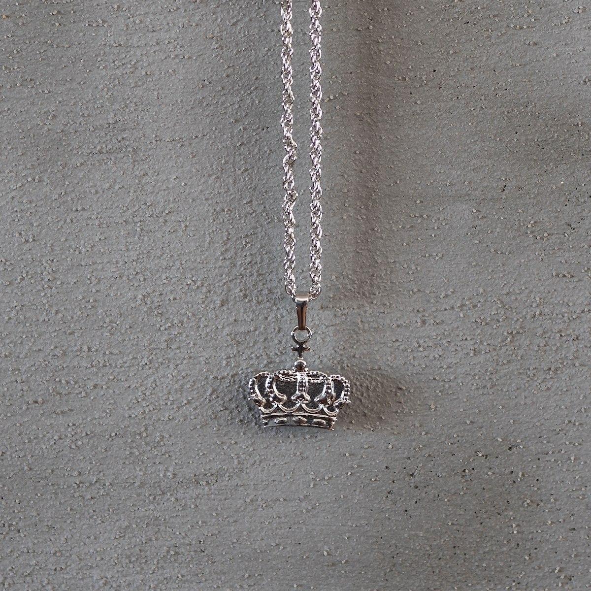 Men's Silver Crown Necklace