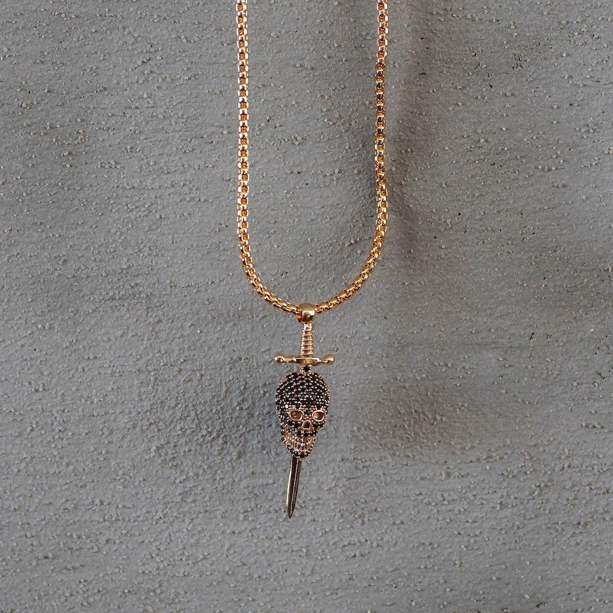 Men's Gold Sworded Skull Necklace