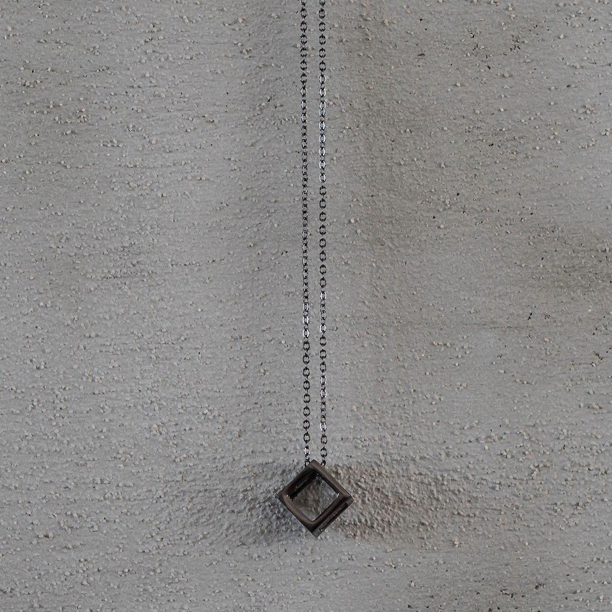 Men's Black Cube Necklace
