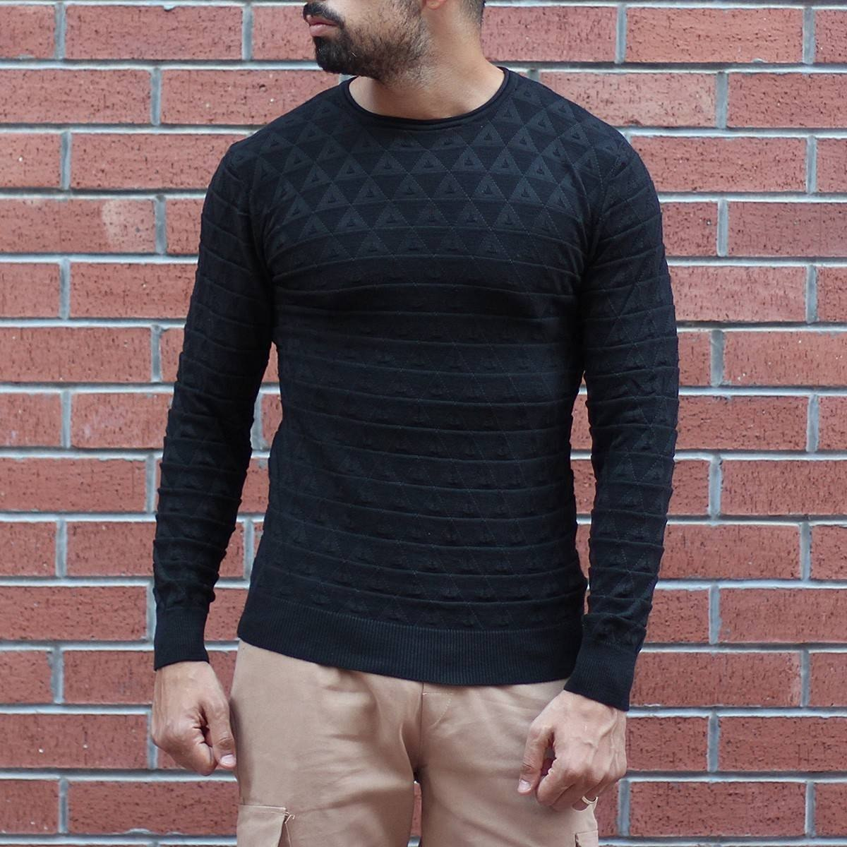 Men's Diamond Pattern Muscle Fit Pullover Black Mv Premium Brand - 1