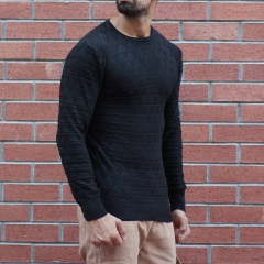 Men's Diamond Pattern Muscle Fit Pullover Black Mv Premium Brand - 2