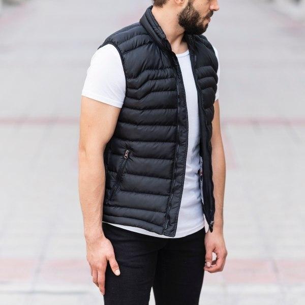 Men's Puffer Vest In Black