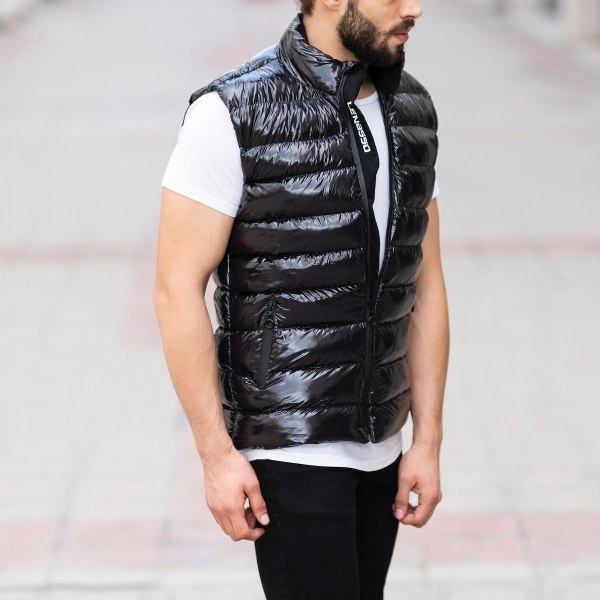 Men's Vinyl Puffer Vest In...