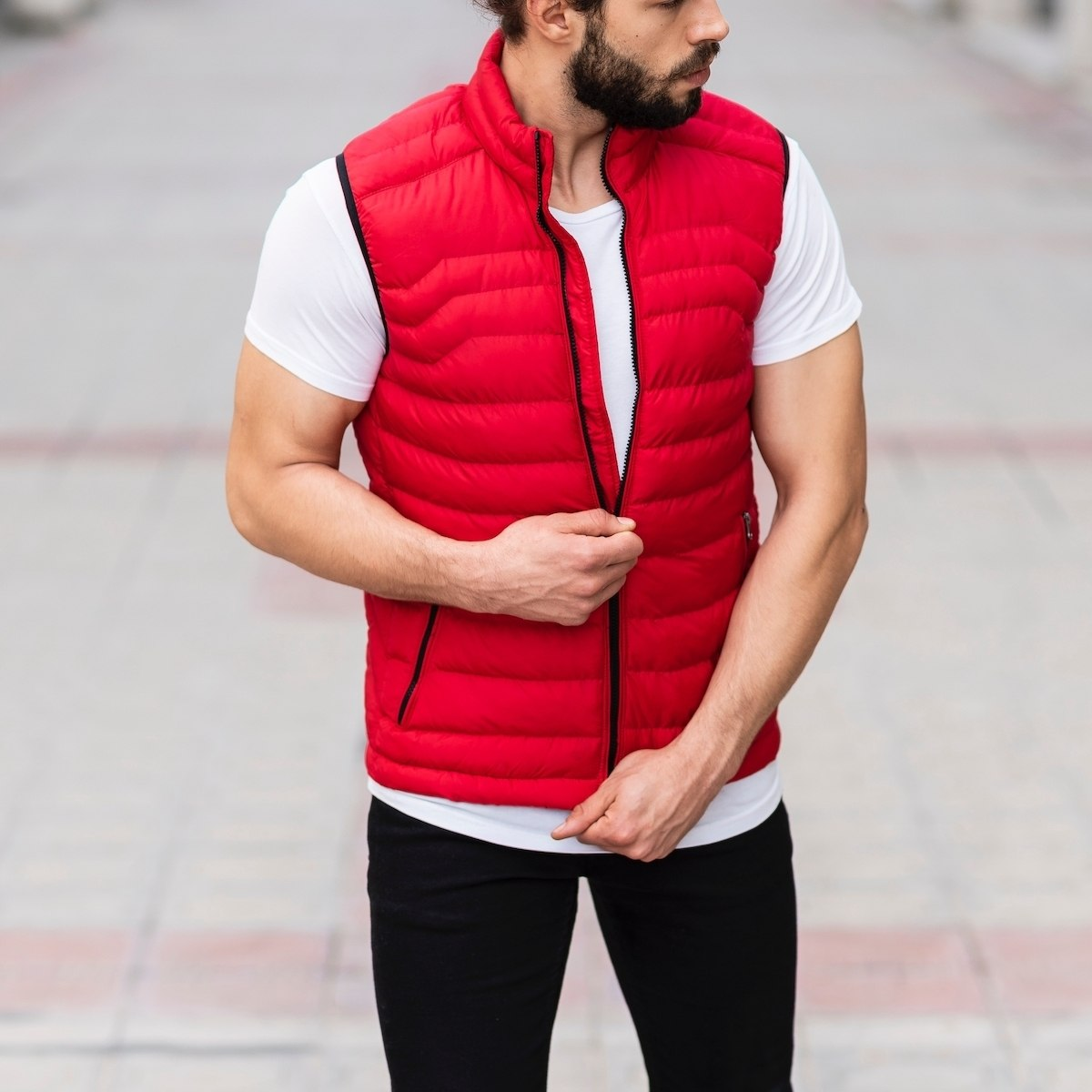 Men's Puffer Vest In Red