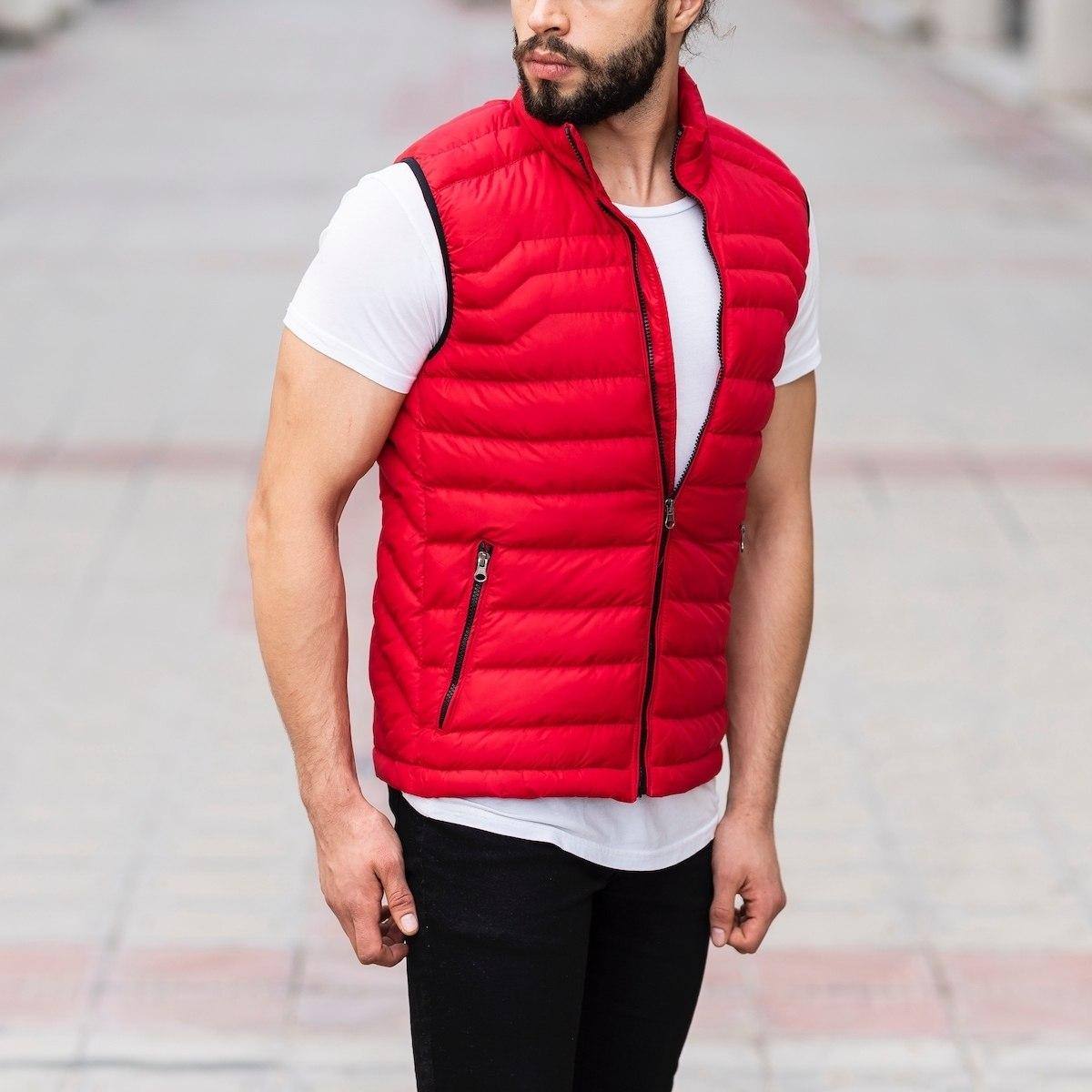 Men's Puffer Vest In Red