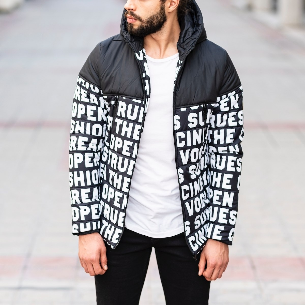 Men's Black Puffer Jacket With Text Details