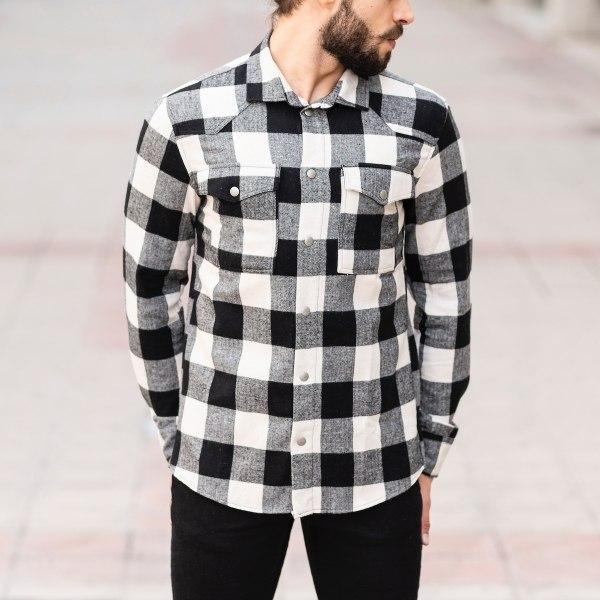 Men's Plaid Woolen Shirt In...