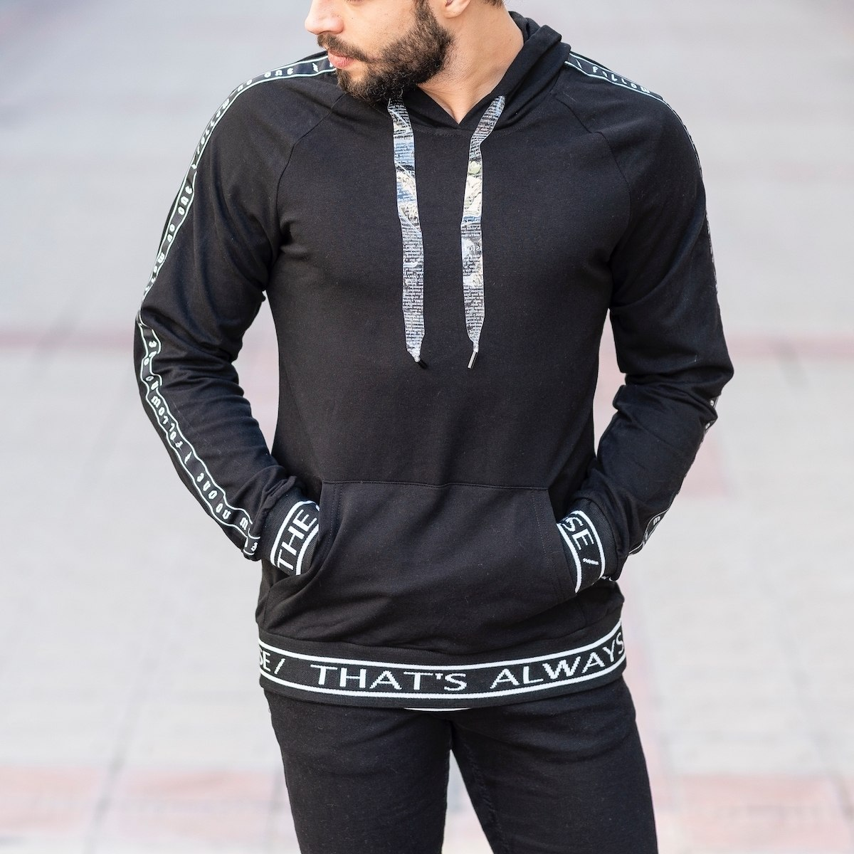 Black Sweatshirt With Text Details
