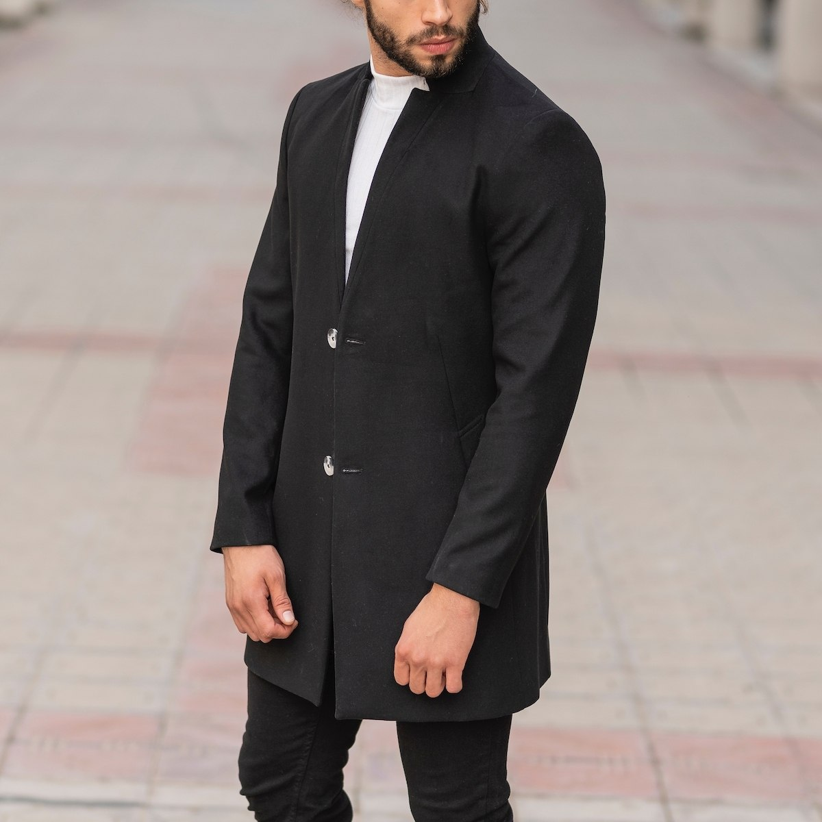 Men's Woolen Coat In Black