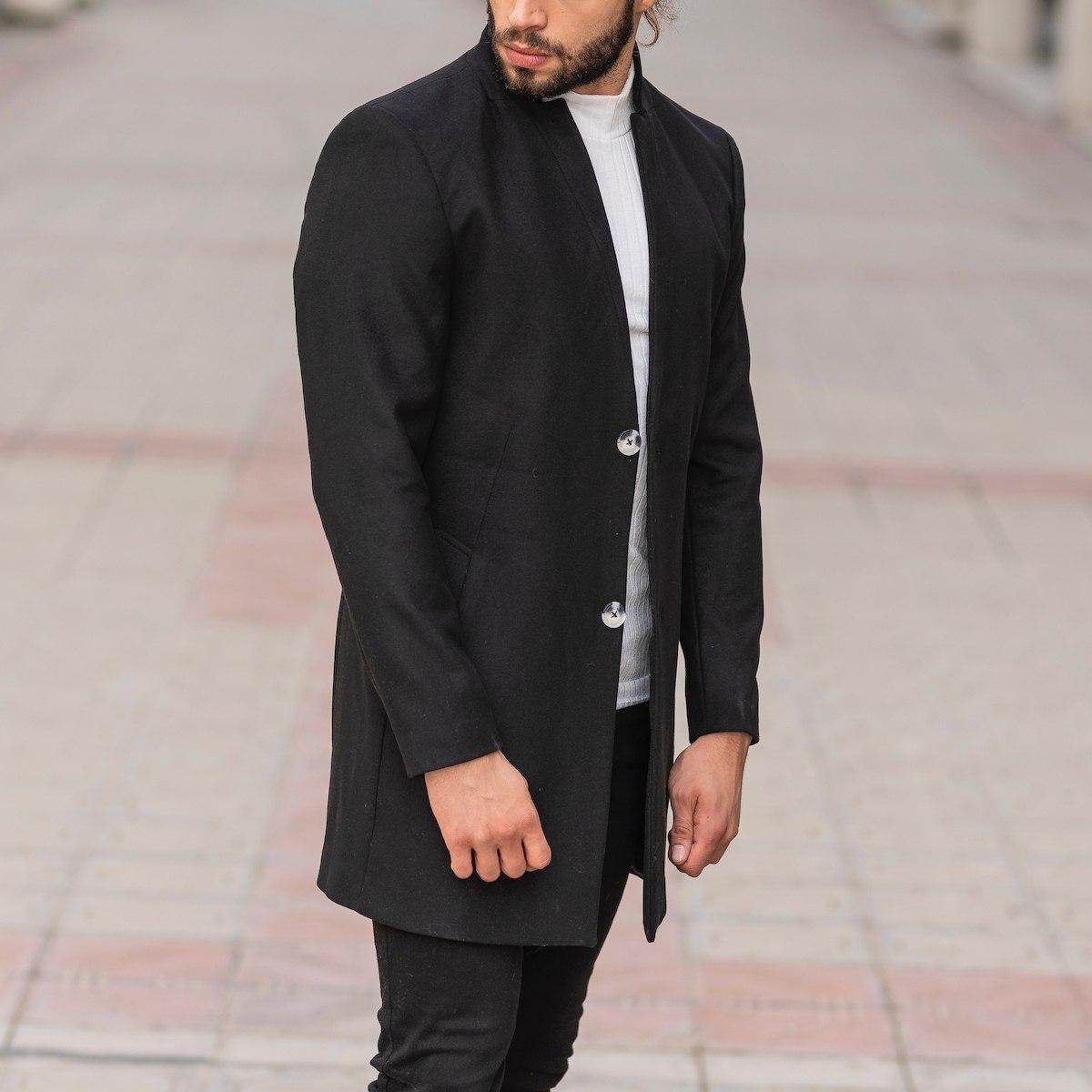 Men's Woolen Coat In Black