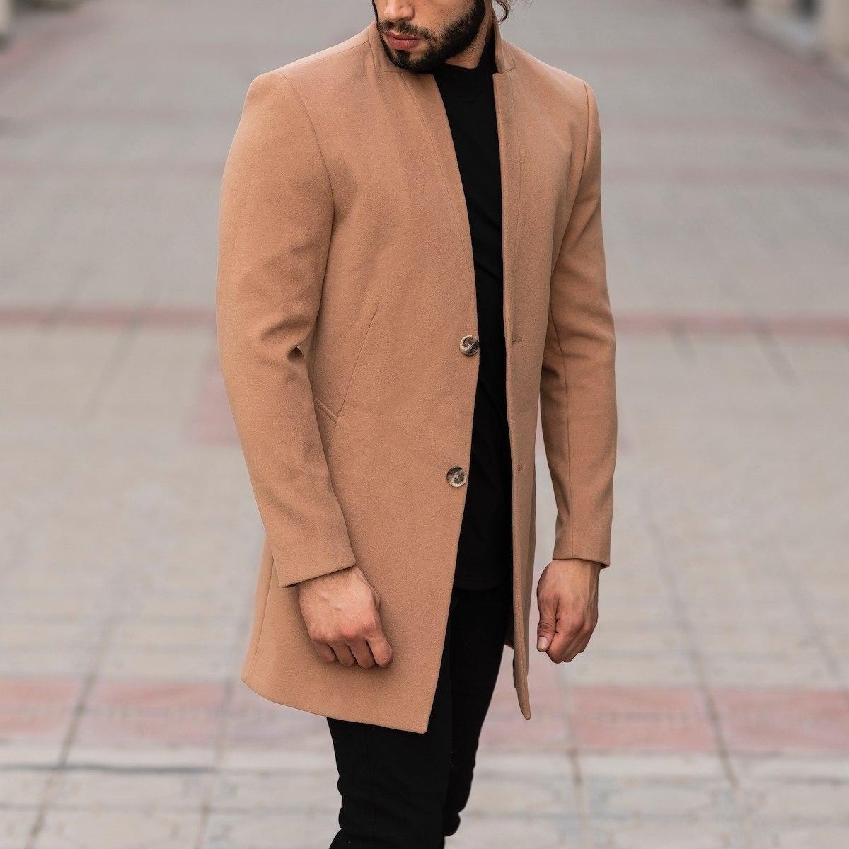 Men's Woolen Coat In Brown
