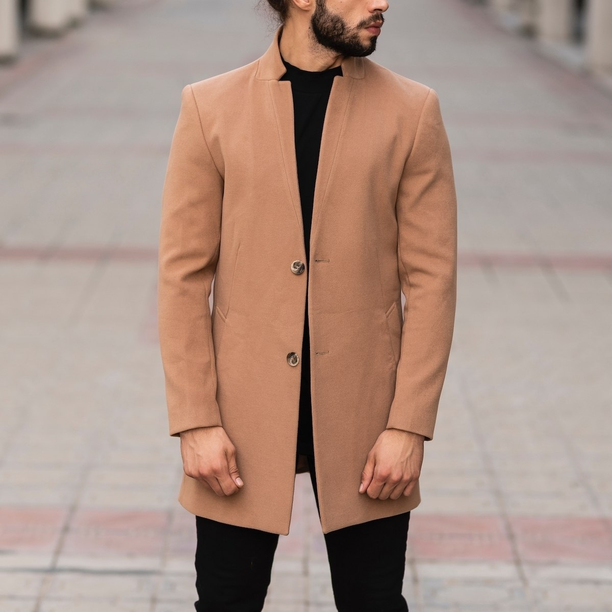 Men's Woolen Coat In Brown